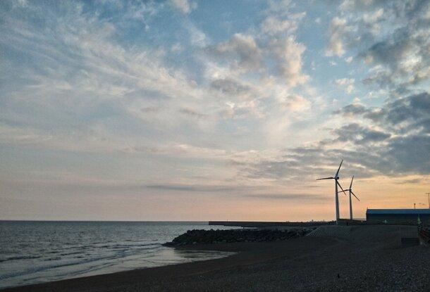 Sky with wind turbine